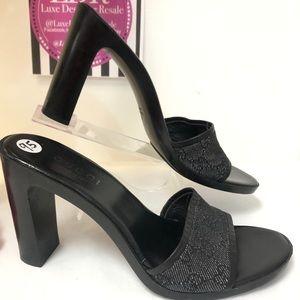 GUCCI Black GG Monogrammed Mule Heels